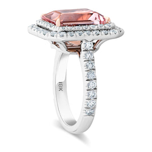 Double Diamond Halo With Pink Morganite Center