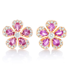 Load image into Gallery viewer, Pink Sapphire Rose Cut and Diamond Flower Earrings