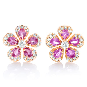 Pink Sapphire Rose Cut and Diamond Flower Earrings