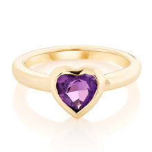 Load image into Gallery viewer, Bezel Set Gemstone Heart Pinky Ring