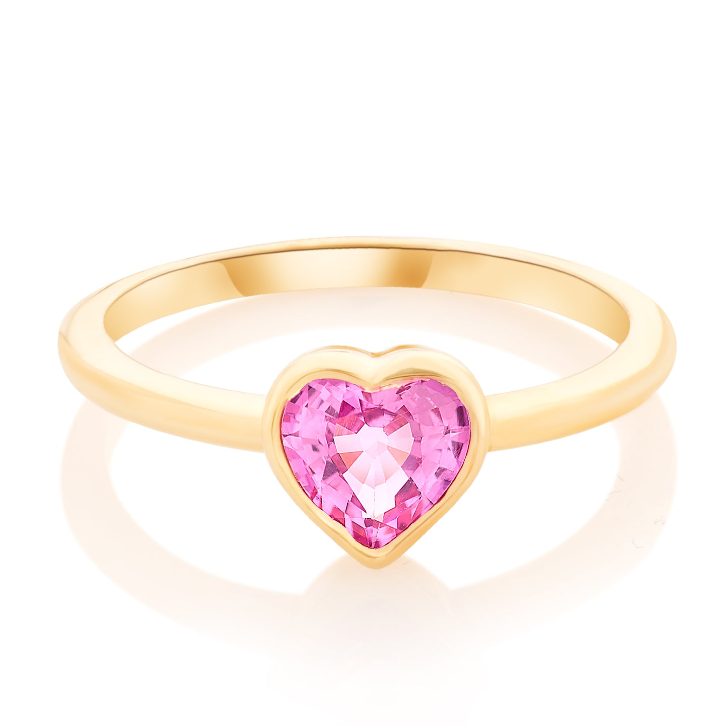 Pink Sapphire Heart Pinky Ring
