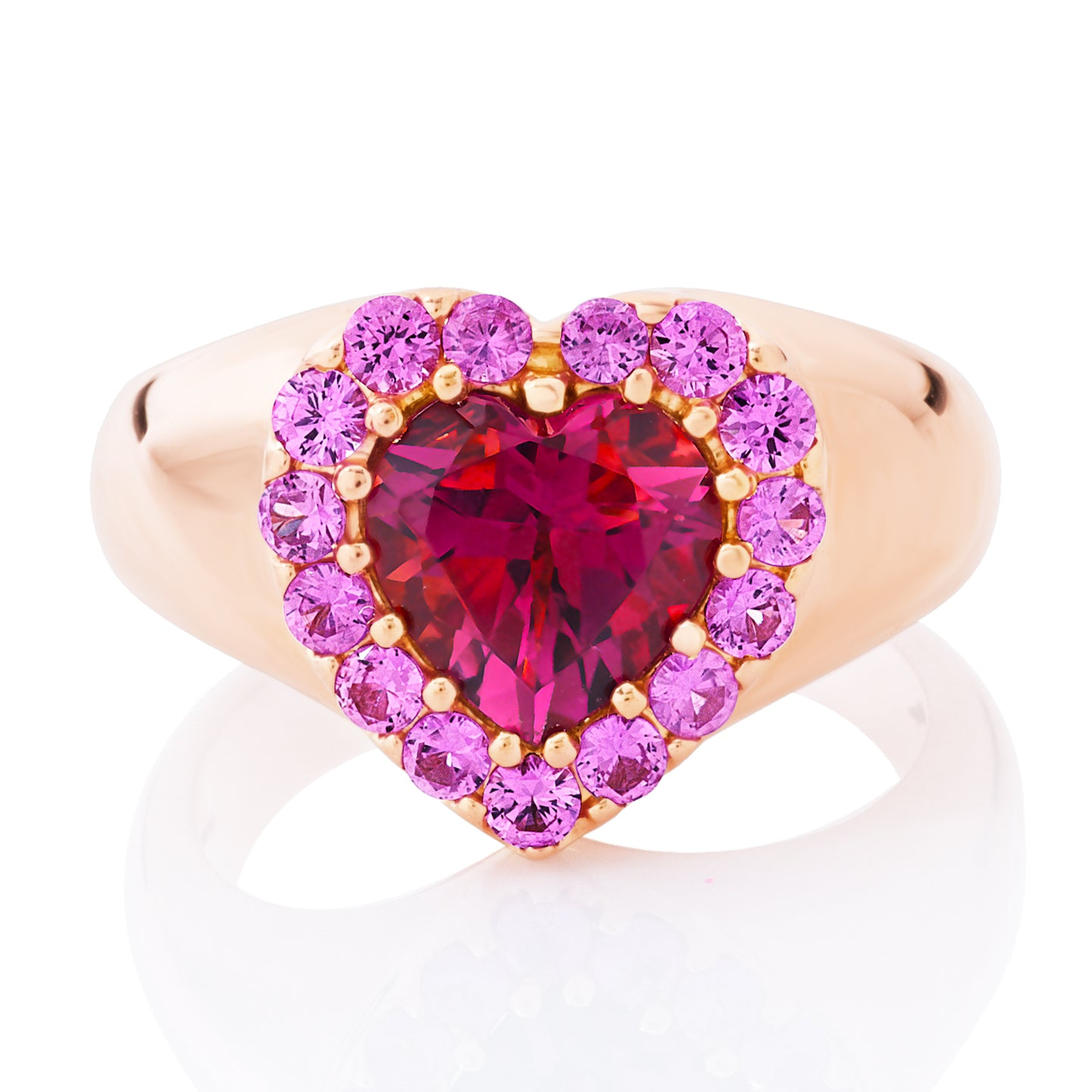 Pink Tourmaline and Sapphire Heart Ring