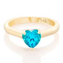 Load image into Gallery viewer, Solitaire Set Gem Stone Heart Pinky Ring