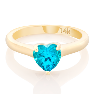 Solitaire Set Gem Stone Heart Pinky Ring