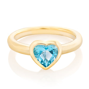 Bezel Set Gemstone Heart Pinky Ring