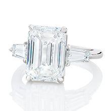Load image into Gallery viewer, Three Stone Emerald Cut Engagement Ring