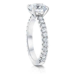 Round Soliaire Pave Engagement Ring
