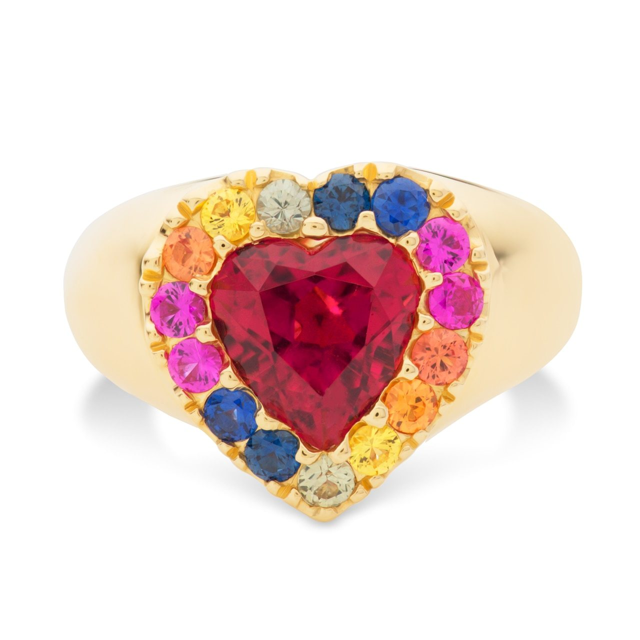 Rubellite Heart and Sapphire Rainbow Pinky Ring