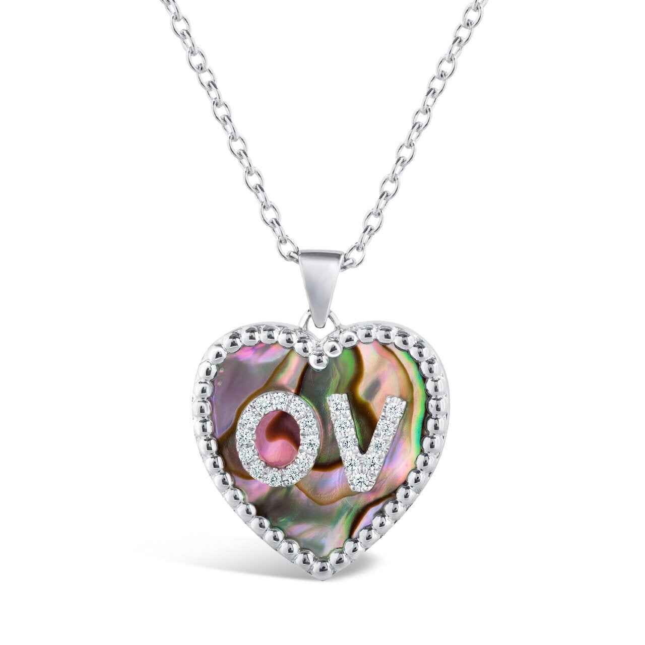 Medium Mother of Pearl Diamond Heart Double Initial Pendant