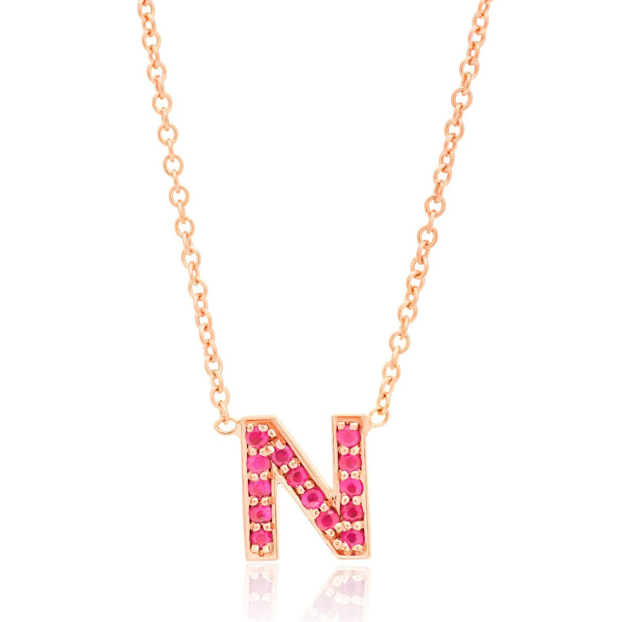 Gold and Ruby Initial Necklace