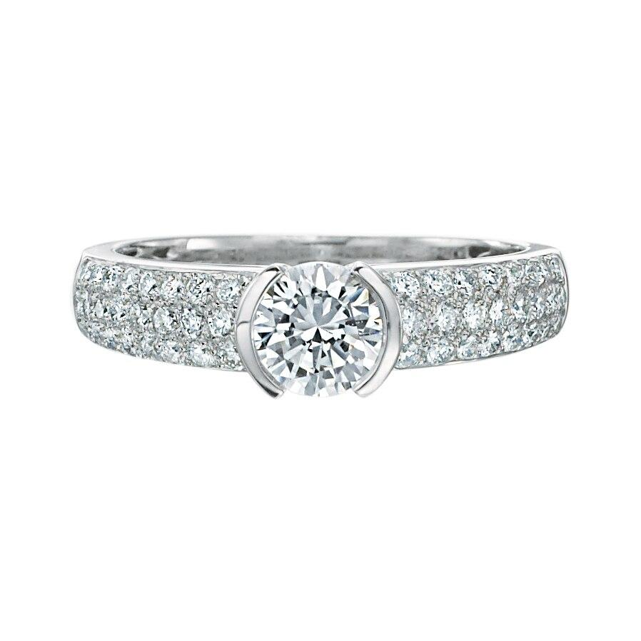 Platinum Micropave Diamond Engagement Ring.