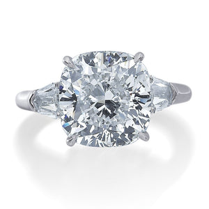Cushion Cut Engagement Ring with Two Bullet Side Stones