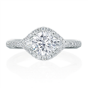 "Pave ""Eye"" Shape Diamond Engagement Ring"