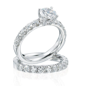 Platinum Shared Prong Engagement Ring with Round Center