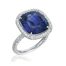 Load image into Gallery viewer, Cushion Cut Sapphire and Diamond Ring