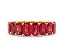 Load image into Gallery viewer, Emerald Cut Ruby Half Way Band