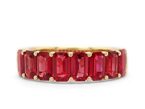 Emerald Cut Ruby Half Way Band