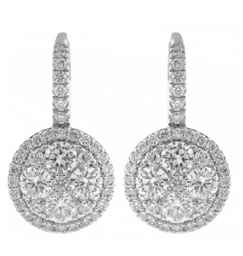 Diamond Cluster Hanging Earrings