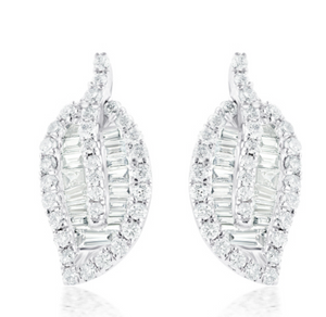 Diamond Baguette Leaf Earrings