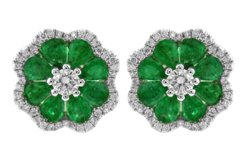 Emerald and Diamond Flower Earrings.