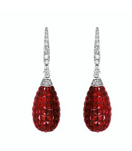 Invisible Set Ruby Drop and Diamond Earrings