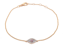 Load image into Gallery viewer, Petite Diamond and Pink Sapphire Evil Eye Bracelet