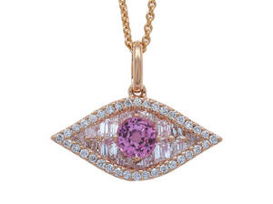 Large Diamond and Pink Sapphire Evil Eye Pendant.