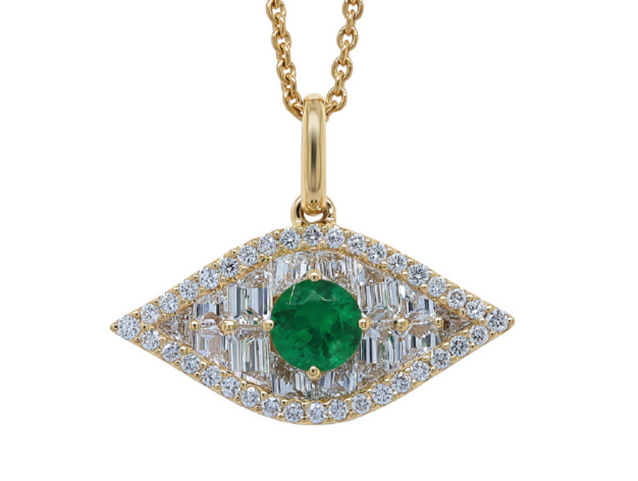 Large Diamond and Green Emerald Evil Eye Pendant