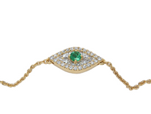 Load image into Gallery viewer, Petite Emerald and Diamond Evil Eye Bracelet
