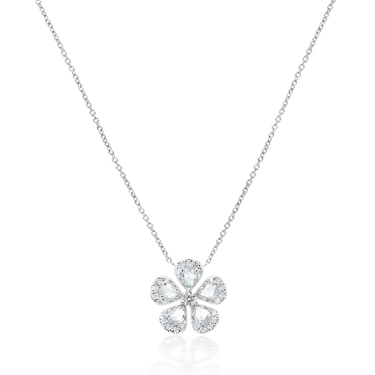 Rose Cut and Round Diamond Flower Pendant