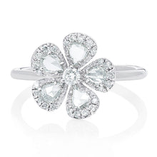 Load image into Gallery viewer, Rose Cut and Round Diamond Flower Ring