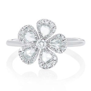 Rose Cut and Round Diamond Flower Ring