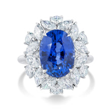 Load image into Gallery viewer, Platinum Oval Sapphire and Fancy Cut Diamond Ring