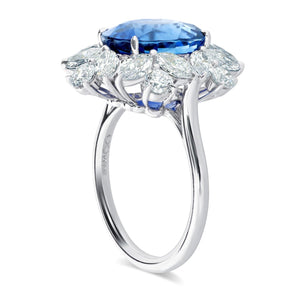 Platinum Oval Sapphire and Fancy Cut Diamond Ring