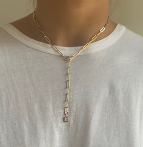 Long Oval Link Gold Chain with Diamond Charm