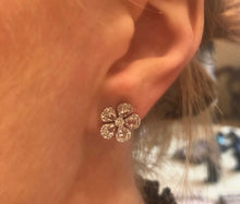 Load image into Gallery viewer, Diamond Rose Cut Flower Earrings