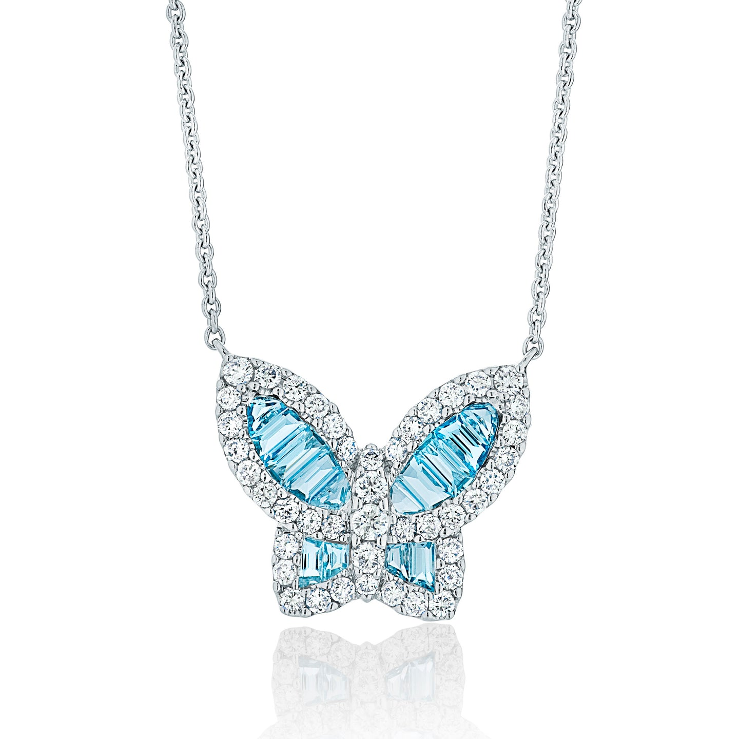 Large Aquamarine and Diamond Butterfly Pendant