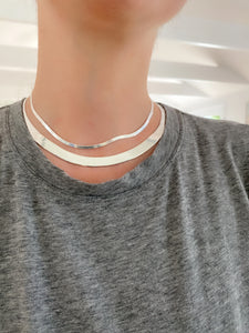Silver 3mm Wide Herringbone Necklace