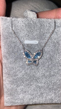 Load image into Gallery viewer, Large Aquamarine and Diamond Butterfly Pendant