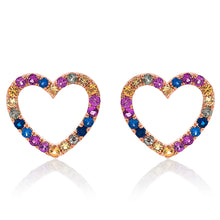 Load image into Gallery viewer, Rainbow Heart Sapphire Stud Earrings