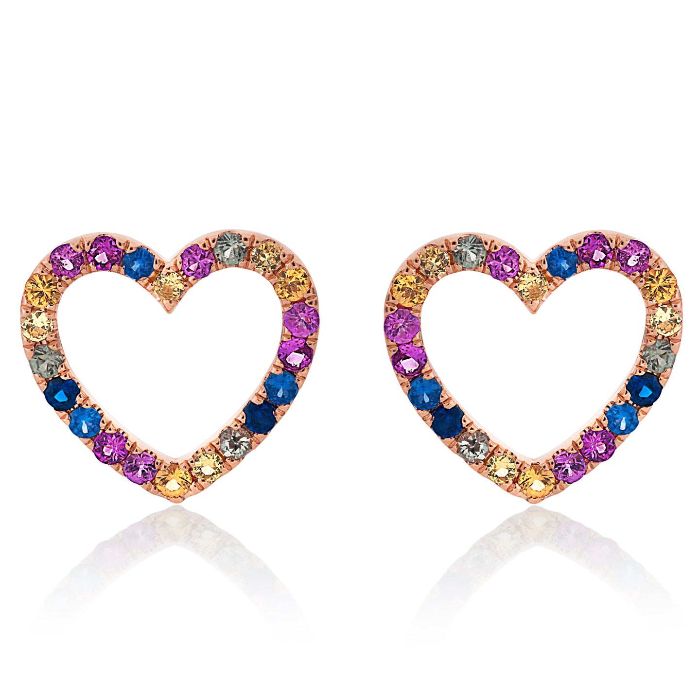 Rainbow Heart Sapphire Stud Earrings
