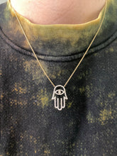 Load image into Gallery viewer, Hamsa Evil Eye Diamond Necklace