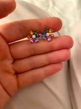 Load image into Gallery viewer, Rainbow Sapphire and Diamond Daisy Earrings