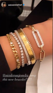 Wide Link Round and Baguette Diamond Bracelet