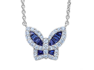 Petite Blue Sapphire and Diamond Butterfly Pendant