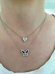 Large Ombre Sapphire and Diamond Butterfly Pendant
