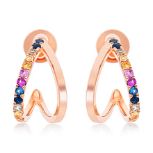 Load image into Gallery viewer, Double Row Rainbow Sapphire Hoop Earrings.