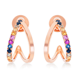 Double Row Rainbow Sapphire Hoop Earrings.
