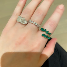 Load image into Gallery viewer, Mixed Cut Green Cross Over Emerald Ring