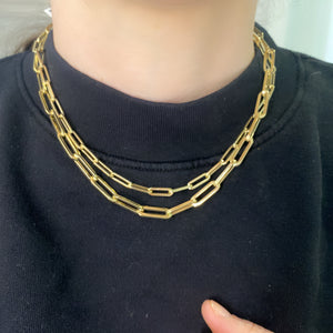 Large Light Weight Paper Clip Chain Necklace